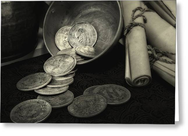Twine Greeting Cards - Loose Change Still Life Greeting Card by Tom Mc Nemar