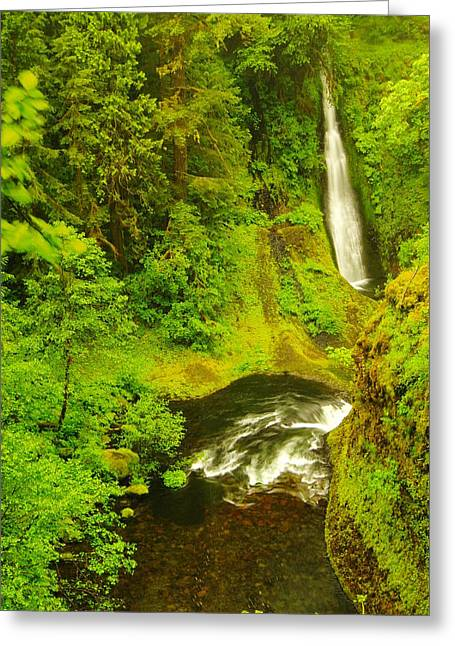 Eagle Creek Greeting Cards - Loowit Falls Greeting Card by Jeff  Swan