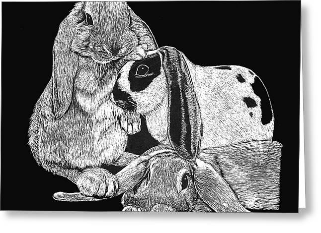 House Pet Mixed Media Greeting Cards - Lop Bunny Trio Greeting Card by Jeanie Beline