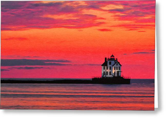 Lake Paintings Greeting Cards - Lorain Lighthouse at Sunset Greeting Card by Michael Pickett