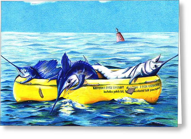 Marlin Tournaments Greeting Cards - Loran Coordinates Available Greeting Card by Karen Rhodes