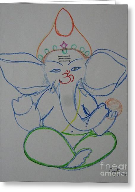 Lord Balaganesh Greeting Card by Gayathri Thangavelu