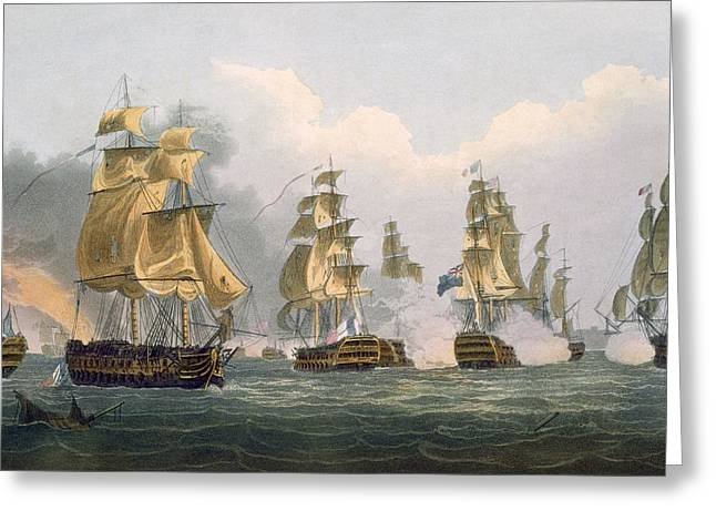 Sailing Ship Greeting Cards - Lord Bridports Action Off Port Lorient Greeting Card by Thomas Whitcombe