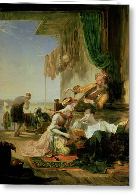 Lord Byron Reposing In The House Of A Fisherman Having Swum The Hellespont, 1831  Greeting Card by Sir William Allan