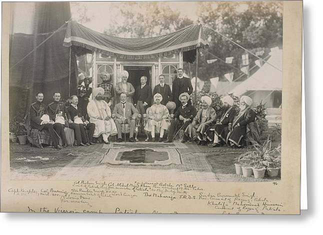 Lord Curzon And The Maharaja Of Patiala Greeting Card by British Library