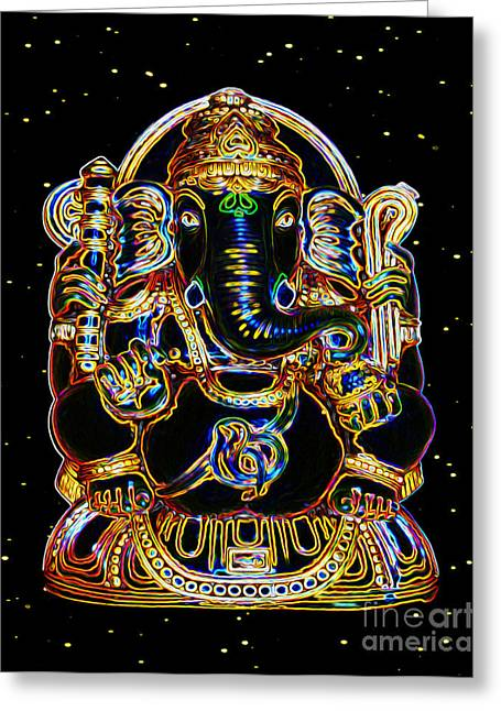 Goddess Durga Digital Art Greeting Cards - Lord Ganesh Destroys Obstacles Greeting Card by Tarik Eltawil