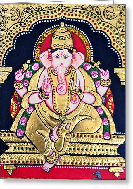 Tanjore Greeting Cards - Lord Ganesha Greeting Card by Ambika Aggarwal