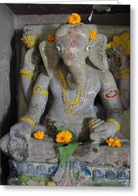 Lord Sculptures Greeting Cards - Lord Ganesha Greeting Card by Makarand Kapare