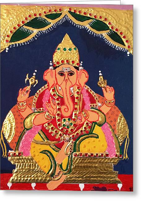 Tanjore Greeting Cards - Lord Ganesha - Tanjore painting Greeting Card by Aarthii Deenadayalan