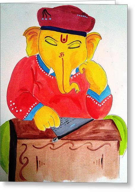 Elaphant Greeting Cards - Lord Ganesha Greeting Card by Vinayak  Thorat