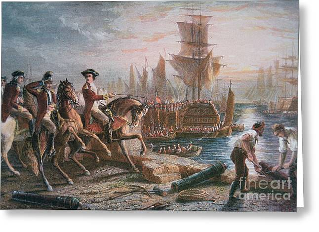 March Paintings Greeting Cards - Lord Howe organizes the British evacuation of Boston in March 1776 Greeting Card by English School