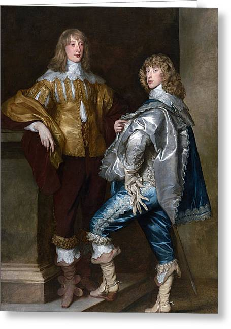 Glove Greeting Cards - Lord John Stuart And His Brother, Lord Bernard Stuart C.1623-45 C.1638 Oil On Canvas Greeting Card by Sir Anthony van Dyck