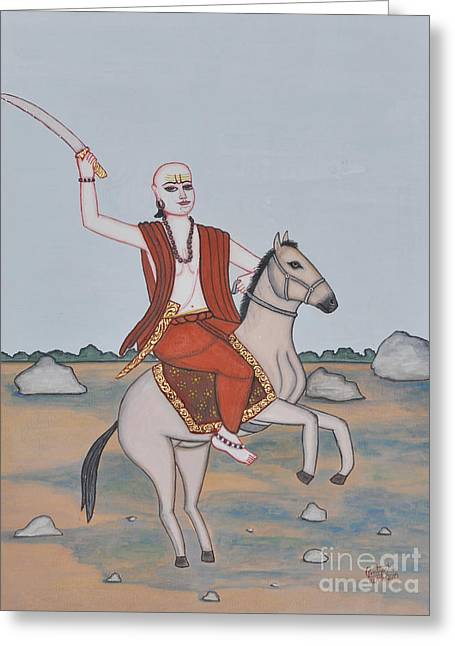 Incarnation Paintings Greeting Cards - Lord Kalki Greeting Card by Pratyasha Nithin