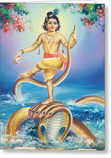 Hindu Goddess Paintings Greeting Cards - Lord Krishna Greeting Card by R Vijayann