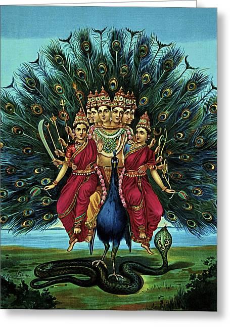 Hindu Goddess Mixed Media Greeting Cards - Lord Murugan Greeting Card by Raja Ravi Varma