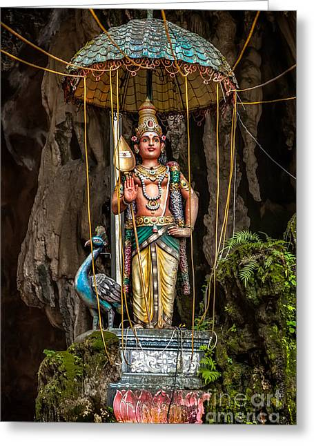 Religious Digital Art Greeting Cards - Lord Murugan Statue Greeting Card by Adrian Evans