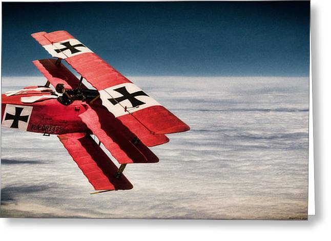 Ww1 Greeting Cards - Red Baron Panorama - Lord of the Skies - Lomo Version Greeting Card by Weston Westmoreland