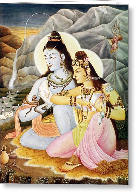 Hindu Goddess Greeting Cards - Lord Shiva Parvati  Greeting Card by Dpa-bdr-30