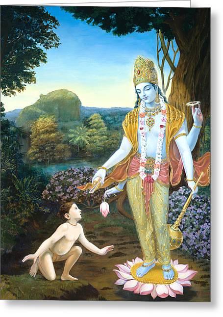 Lord Vishnu Apprears To Dhruva Greeting Card by Dominique Amendola
