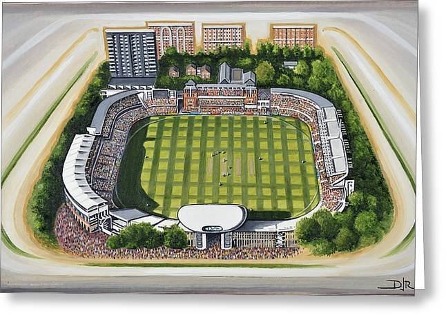 Cricket Paintings Greeting Cards - Lords Cricket Ground Greeting Card by D J Rogers