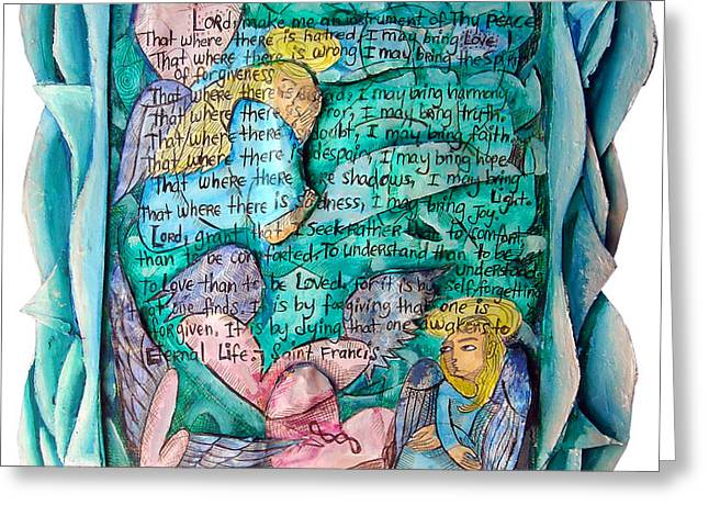 St. Francis Mixed Media Greeting Cards - St. Francis Prayer Greeting Card by Joanna Whitney