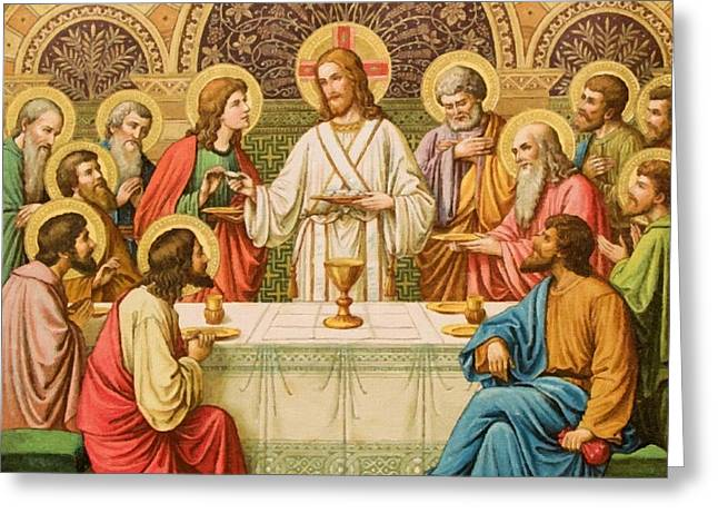 Catholic Art Greeting Cards - Lords Supper Greeting Card by Victor Gladkiy
