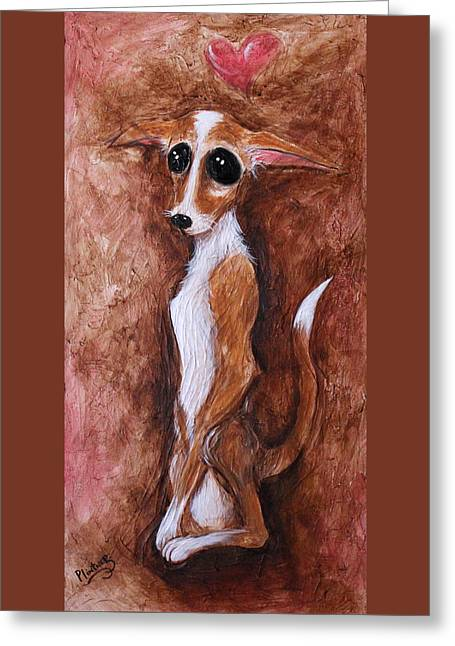 Temperament Paintings Greeting Cards - Loretta Chihuahua Big Eyes  Greeting Card by Patricia Lintner