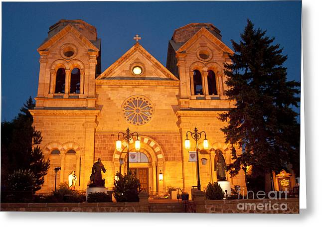 Santa Fe Pyrography Greeting Cards - Loretto Chapel Santa Fe NM Greeting Card by David  King