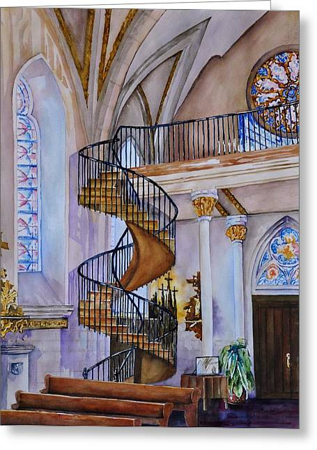 Spiral Staircase Paintings Greeting Cards - Loretto Chapel - Santa Fe NM Greeting Card by Joy Skinner
