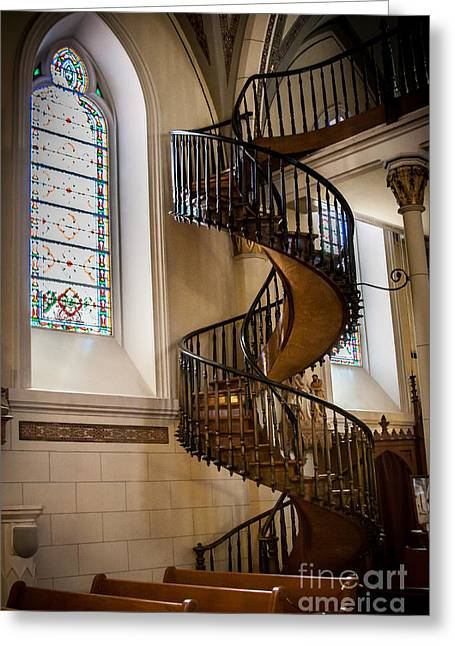 Recently Sold -  - Wooden Stairs Greeting Cards - Loretto Chapel Staircase Greeting Card by Jim McCain