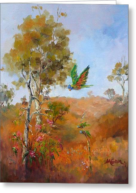Marie Green Greeting Cards - Lorikeets - Study for 1770 Greeting Card by Marie Green