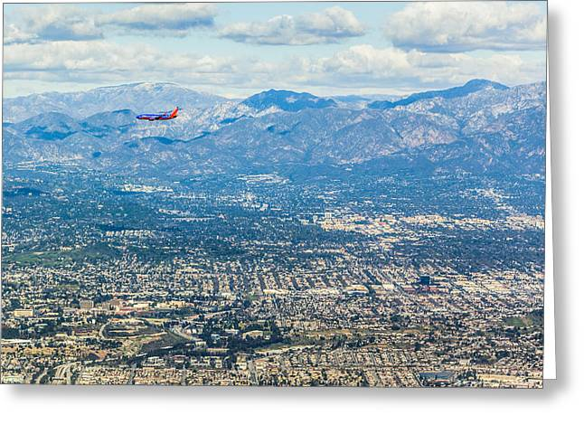 Outlook Greeting Cards - Los Angeles aerial view Greeting Card by Alex Potemkin