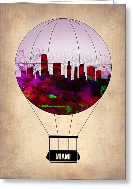 Metropolitan Greeting Cards - Miami Air Balloon 1 Greeting Card by Naxart Studio