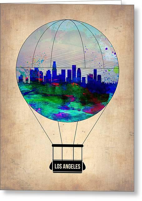 Plane Greeting Cards - Los Angeles Air Balloon Greeting Card by Naxart Studio