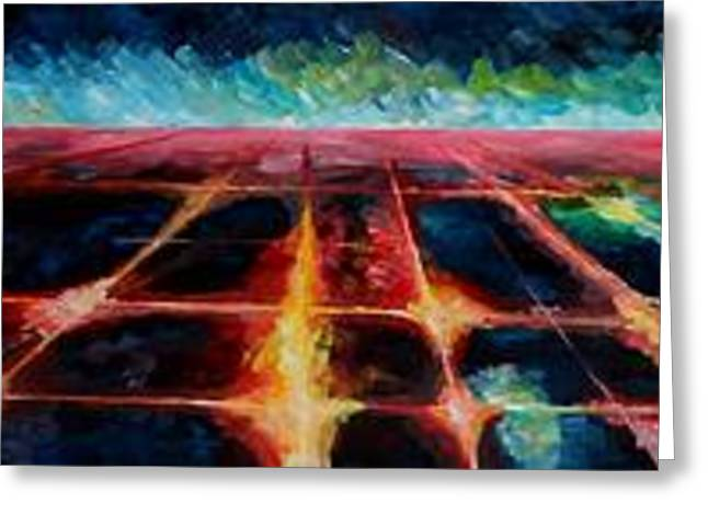 Birdseye Paintings Greeting Cards - Los Angeles at Night from Mountains Greeting Card by M Bleichner