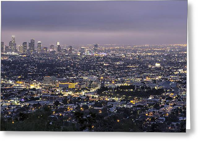 Office Space Greeting Cards - Los Angeles at Night from the Griffith Park Observatory Greeting Card by Belinda Greb