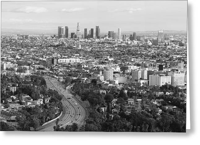 Scenic Drive Greeting Cards - Los Angeles Skyline and Los Angeles Basin Panorama Monochrome Black and white Greeting Card by Ram Vasudev