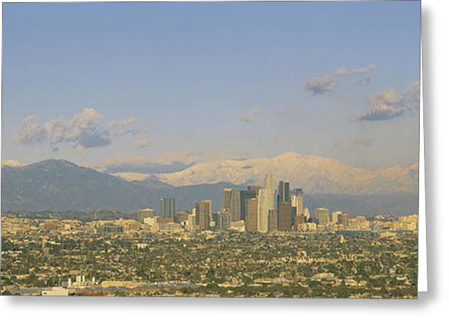 Haze Greeting Cards - Los Angeles Ca Greeting Card by Panoramic Images