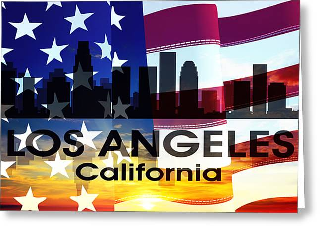 Concrete Jungle Mixed Media Greeting Cards - Los Angeles CA Patriotic Large Cityscape Greeting Card by Angelina Vick