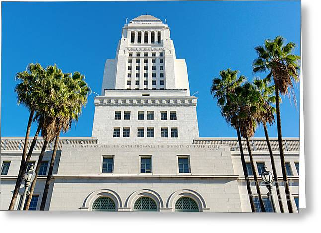 Center City Greeting Cards - Los Angeles City Hall Greeting Card by Jamie Pham