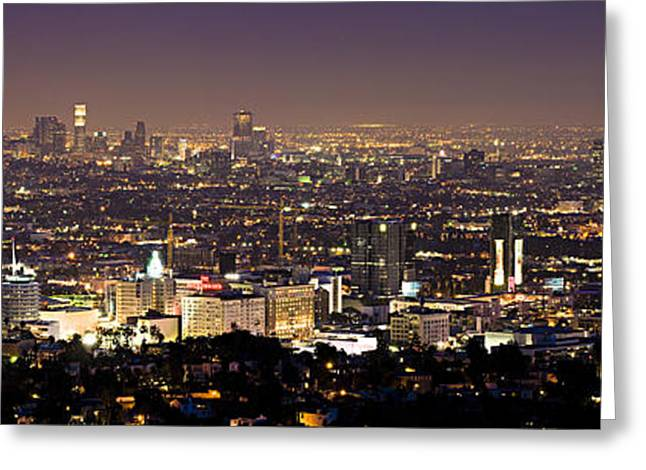 La Downtown Greeting Cards - Los Angeles City Skyline at Night Greeting Card by Nomad Art And  Design