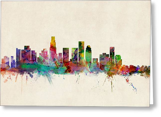 Urban Watercolour Greeting Cards - Los Angeles City Skyline Greeting Card by Michael Tompsett