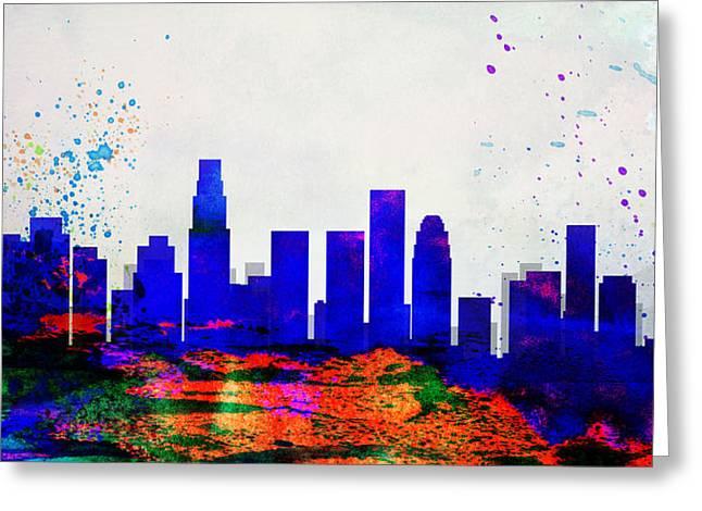 Los Angeles Skyline Greeting Cards - Los Angeles City Skyline Greeting Card by Naxart Studio