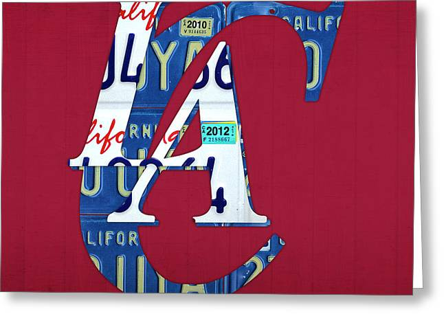 Basketball Team Greeting Cards - Los Angeles Clippers Basketball Team Retro Logo Vintage Recycled California License Plate Art Greeting Card by Design Turnpike