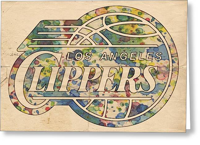 Slamdunk Digital Greeting Cards - Los Angeles Clippers Poster Art Greeting Card by Florian Rodarte