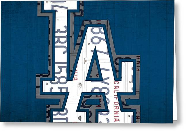 Los Angeles Freeways Greeting Cards - Los Angeles Dodgers Baseball Vintage Logo License Plate Art Greeting Card by Design Turnpike