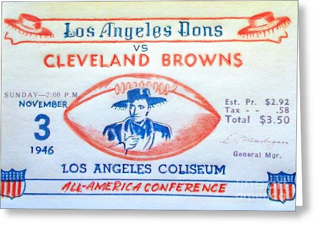 Sports Memorabilia Greeting Cards - Los Angeles Dons vs Cleveland Browns Greeting Card by Pg Reproductions