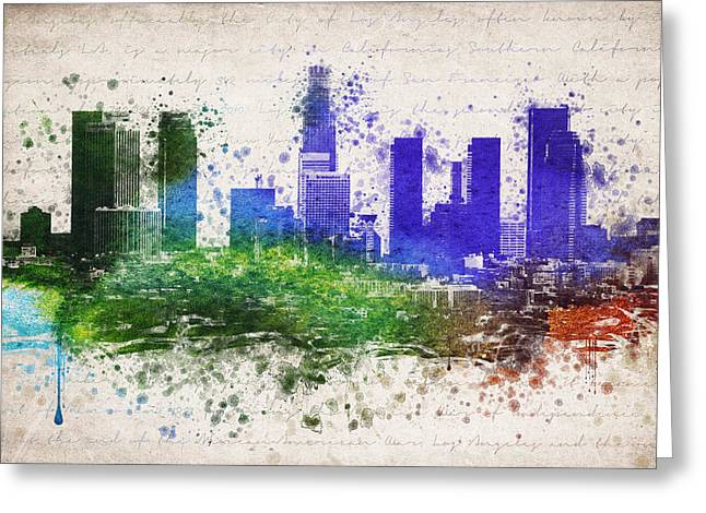 La Downtown Greeting Cards - Los Angeles in color  Greeting Card by Aged Pixel