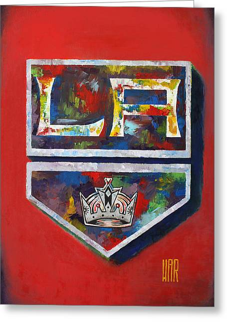 Staples Center Mixed Media Greeting Cards - Los Angeles Kings Hockey Greeting Card by Dan Haraga