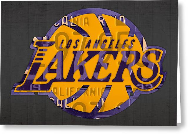 Lakers Mixed Media Greeting Cards - Los Angeles Lakers Basketball Team Retro Logo Recycled License Plate Art Greeting Card by Design Turnpike